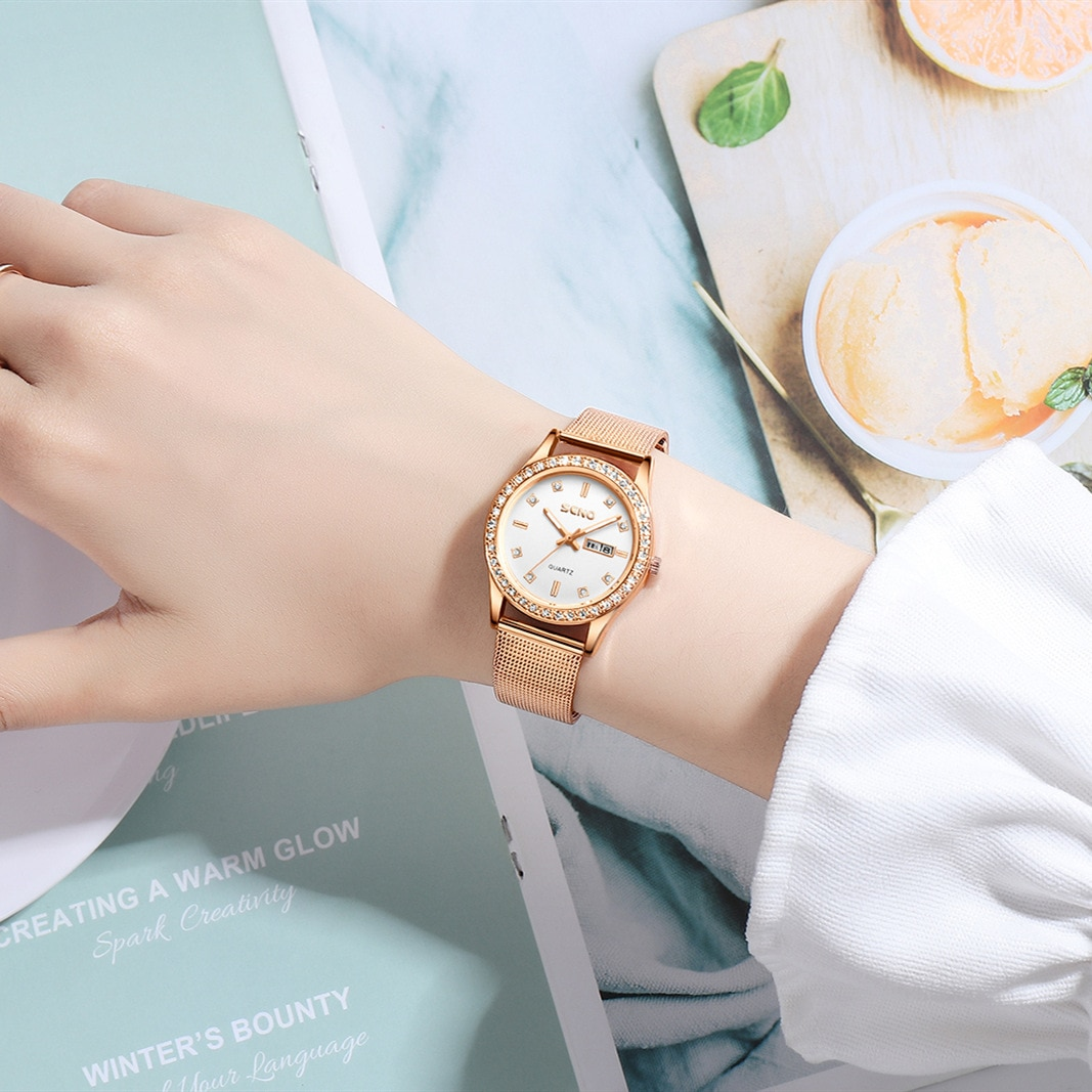 Double calendar female student Korean edition watch Full automatic non-mechanical ladies watch waterproof luminous quartz watch enlarge