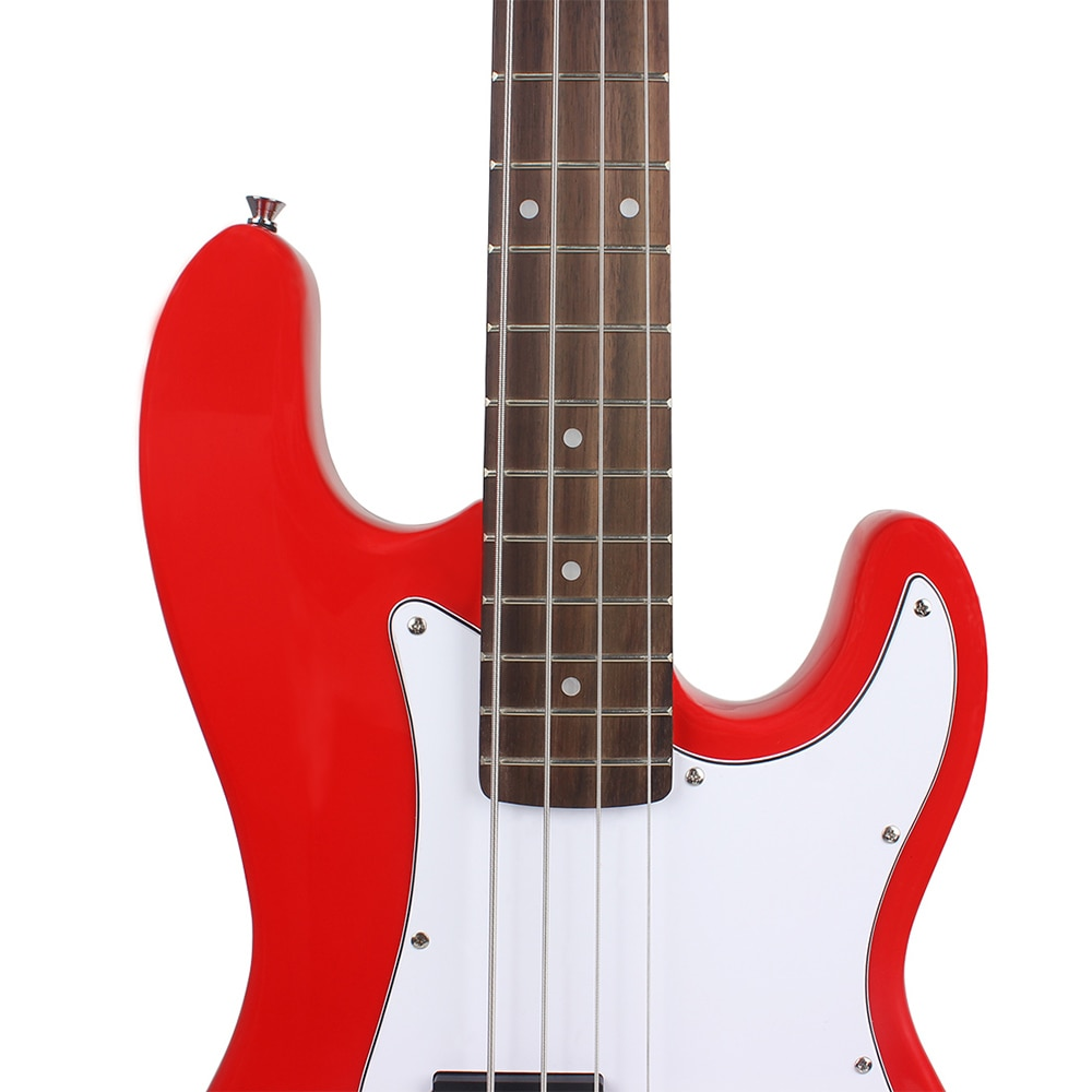 Professional 20 Frets 4 String Electric Bass Guitar Red Basswood Bass Guitar Stringed Instrument With Connection Cable Wrenches enlarge