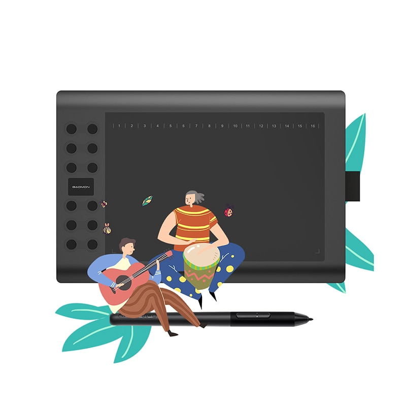 GAOMON M106K PRO Graphics Tablet--10 Inches With 8192 Levels Passive Pen and 12 Shortcut Keys Support with Windows/Mac/Android