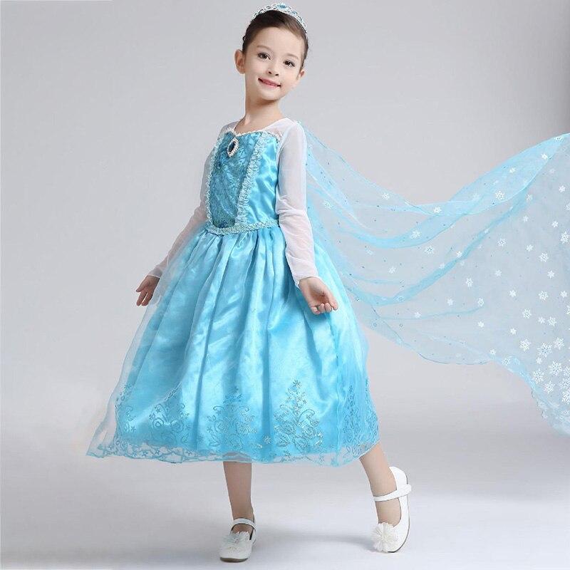 Vestido de princesa Elsa para niñas, disfraces de Navidad para niños, Reina de la nieve, Peluca de Elza para niños, disfraz para fiesta de Carnaval