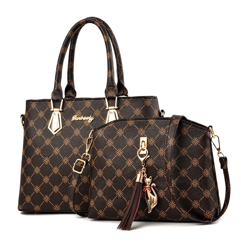 Women Bags Set 2 Pcs Leather Handbag Women Tote Bag Ladies Shoulder Bag for Women 2020 Messenger Bag Sac a Main