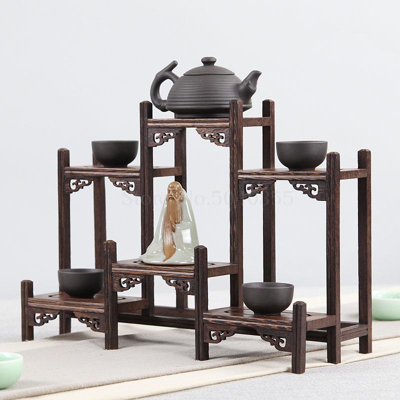 Chicken wing solid wood Chinese retro storage rack small multi treasure chest purple teapot tea set shelf racks display stand