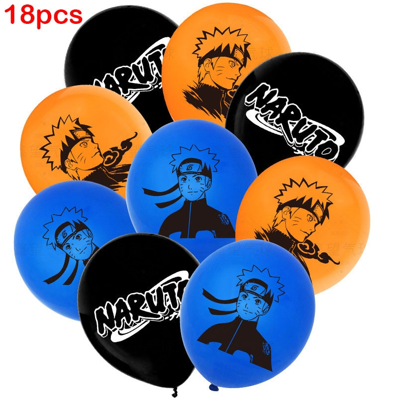 18pcs Party Balloons Anime Cartoon Latex Balloon Blue Orange Black Air Ball Party Decor Boy Birthday