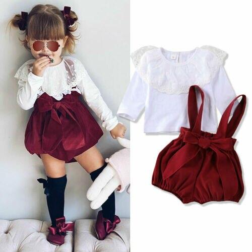De recién nacido bebé niñas conjuntos de ropa de manga larga de encaje de hilo Lotus tops con hoja + correa pantalones overoles otoño conjuntos