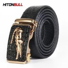 HITONBULL Crocodile Pattern Genuine Leather Automatic Belt For Men Brand Simulation Strap Alligator