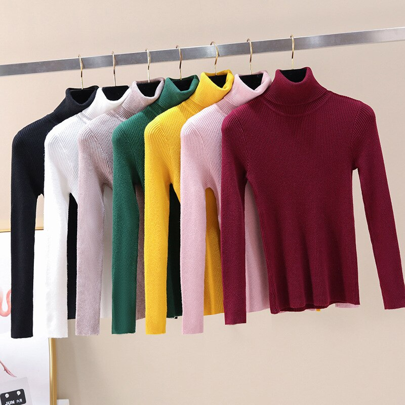 2020 nova gola alta camisola sólida jovem menina roupas estudantes tricô 8 cores adolescentes casaco