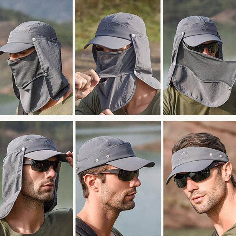 מגן חיצוני לנשימה כובע 360 תואר פנים הגנת צוואר כיסוי דיג שמש להגן על כובע דש כובע רחב שולי אבזם