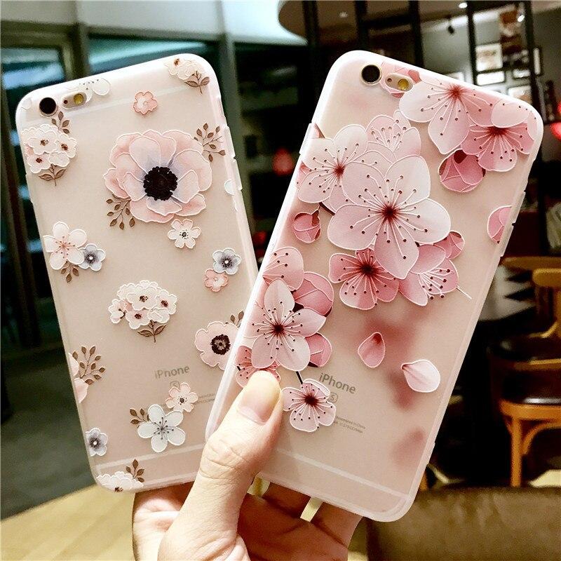 Funda de teléfono transparente para iphone xr x xsmax xs 7 8 6s, apple etui de silicona para iphone 7 8 6 plus, funda con estampado de flores en relieve