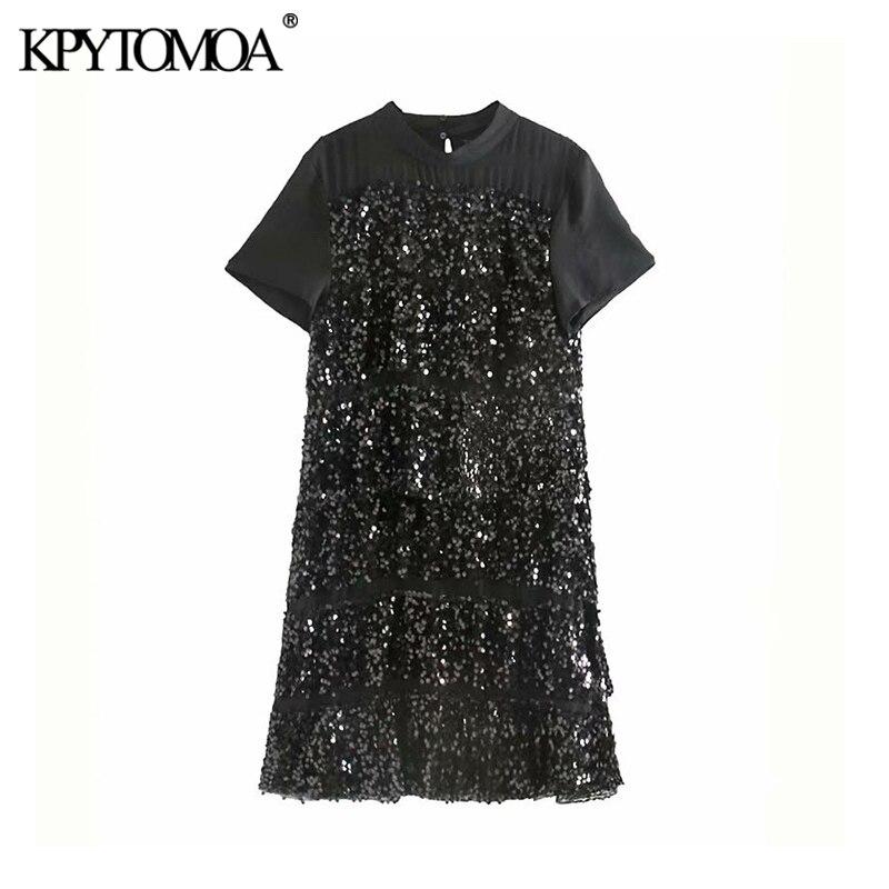 Vintage Sexy Sequin Patchwork Mini Dress Women 2020 Fashion O Neck Short Sleeve Female Dresses Chic Vestidos Mujer
