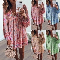 summer womens dresses printed v neck button long sleeved short dress small floral casual loose polyester dress plus size dress