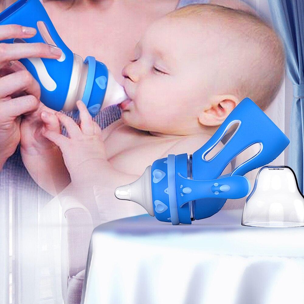 Vaso de bebe anticaída de silicona de 135 grados para evitar el hipo y flatulencia calentador de botella inteligente para bebé recién nacido de calibre ancho