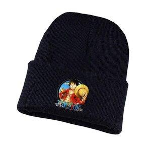 Japan anime One Piece Hat Trafalgar D Water Law Caps Knitted Winter Warm Hats Men Women Boys Girls Elastic Black hat