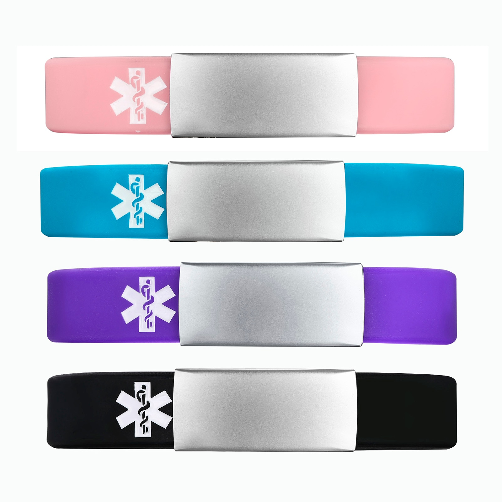 Free Personalized Customized ID Wristbands, Women Rubber Silicone Bracelet with Type 1 Diabetes, Engraved Message ICE Bangle