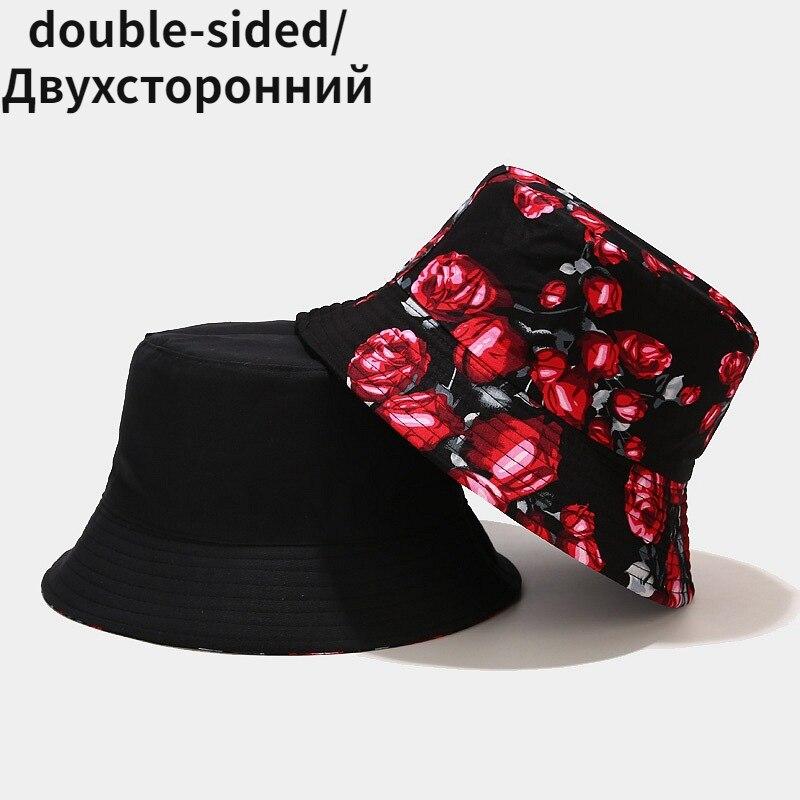 Панама женская двухсторонняя Складная с розами, Пляжная шапка для отдыха на открытом воздухе панама женская кепка женская панама мужская