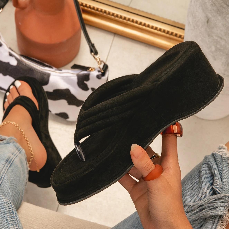 Verão ao ar Camurça do Falso Sola de Borracha Livre Praia Tendência Chinelo Mulheres Plataforma Grossa Cunha Não Deslizamento Sapatos Moda Senhoras Flip Flops