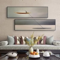 abstract lonely boat canvas paintings nordic river posters and prints nostalgic wall art for living room bedroom japanese style