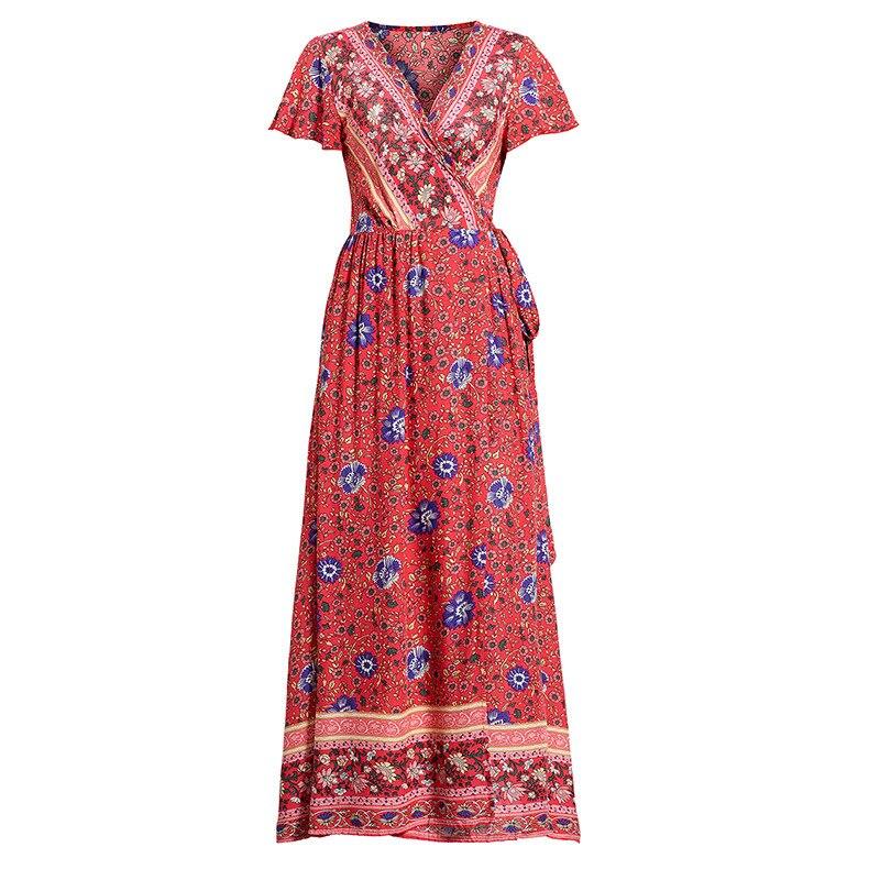 Women's new chiffon dress Summer sexy V-neck cardigan waist print Bohemian beach temperament long skirt cool big swing skirt enlarge