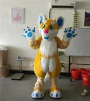 halloween yellow long fur fox husky dog fursuit mascot costume suit cosplay party dress outfits advertising xmas easter adults