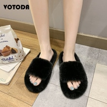 New Fur Slides Furry Shoes Women Fluffy Soft Comfortable Home Slipper Indoor House Shoes Woman Winte