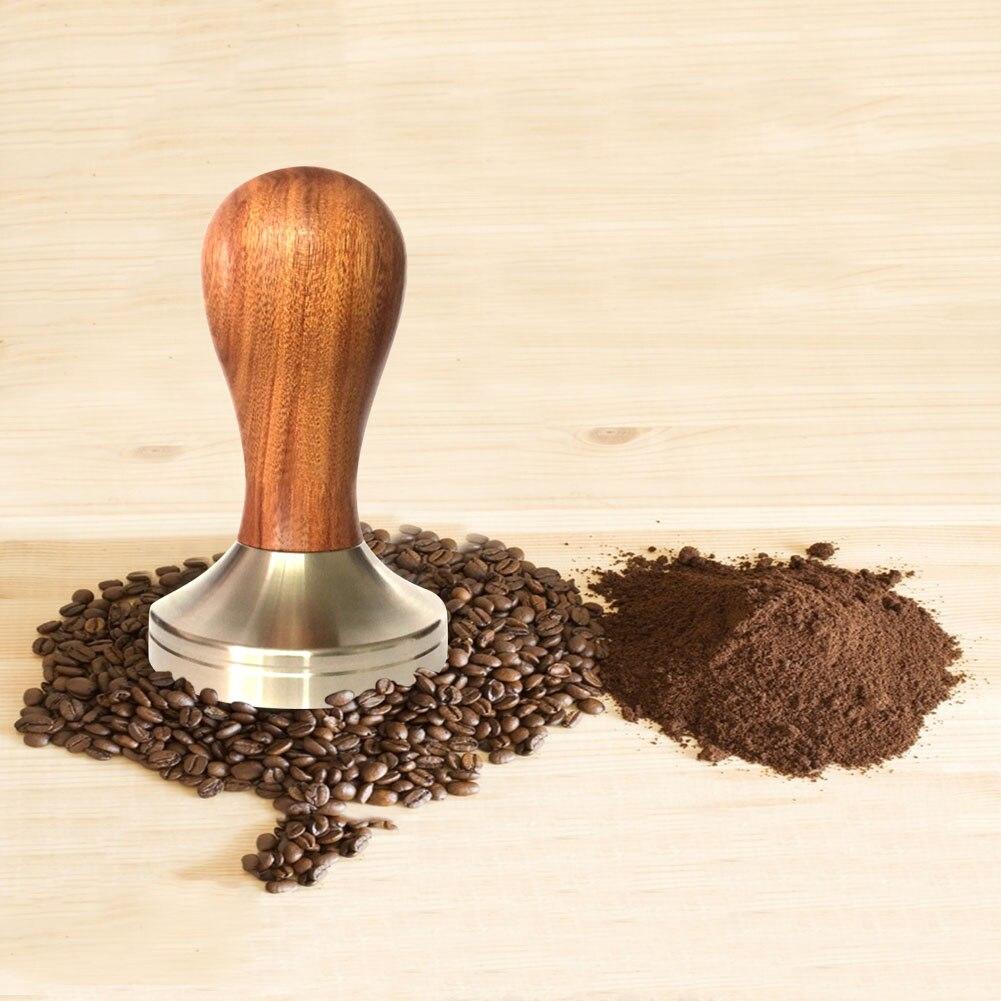 Madera café expreso Tamper 51mm/58mm Acero Inoxidable Base plana JS23