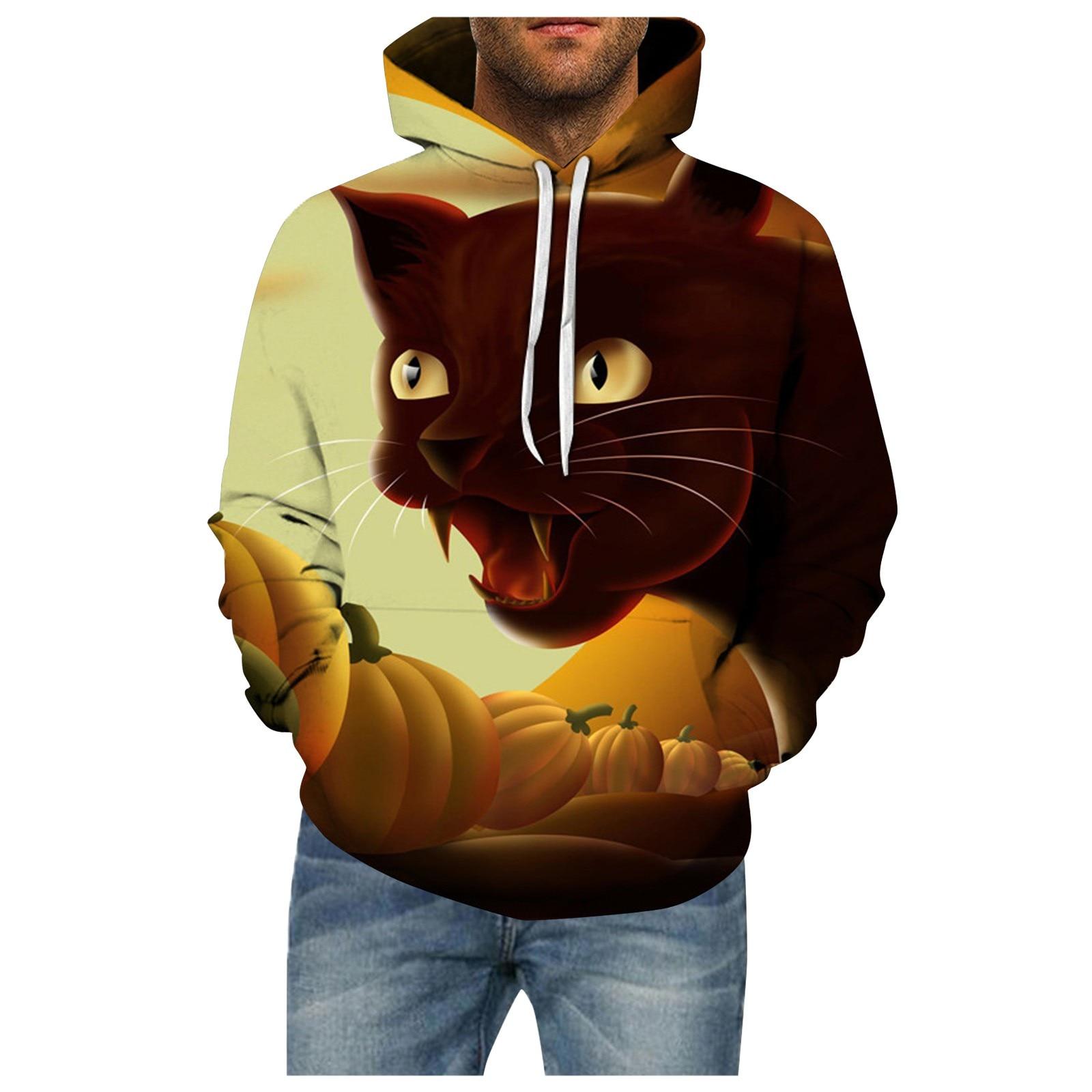 drawstring queen print hoodie New hoodie Harajuku men's Halloween evil pumpkin meow drawstring print pocket hoodie plus size sweatshirt Толстовка