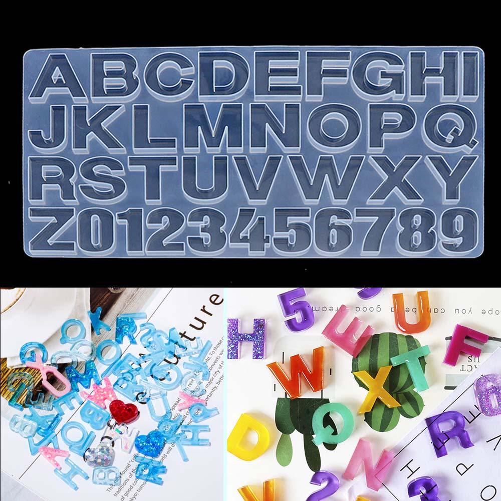 Bricolage à la main cristal colle époxy résine moule conseil entier numérique lettre bijoux faisant décoration lettre silicone moule pour résine