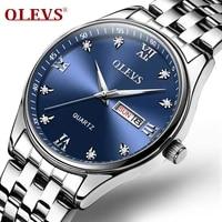 olevs business affairs waterproof double calendar gold watch luxury watch for men