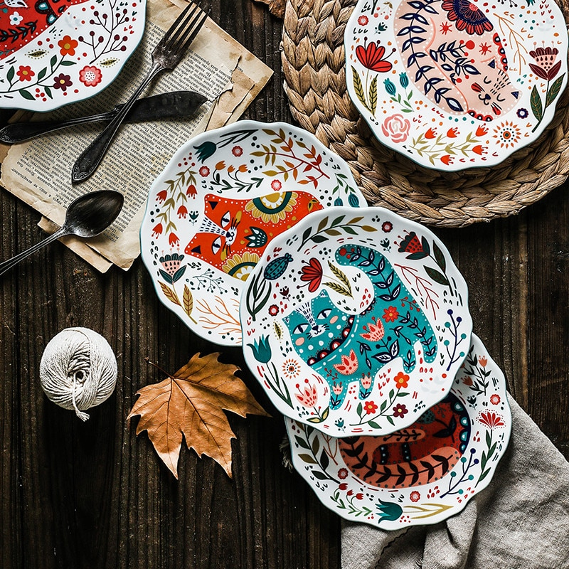 8 بوصة الشمال الإبداعية الكرتون رسمت باليد القط لوحة أدوات مائدة سيراميك تحت المزجج الحلوى طبق الميكروويف وجبة خفيفة طبق ستيك