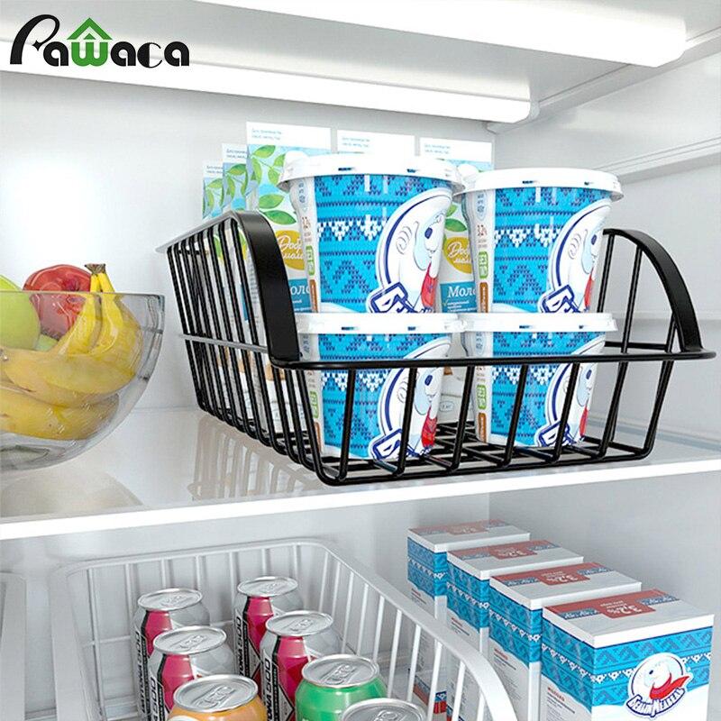 1 Uds cesta de almacenamiento de misceláneas antioxidante hierro-organizador de arte para nevera estante de almacenamiento de vegetales y frutas caja de almacenamiento de aperitivos