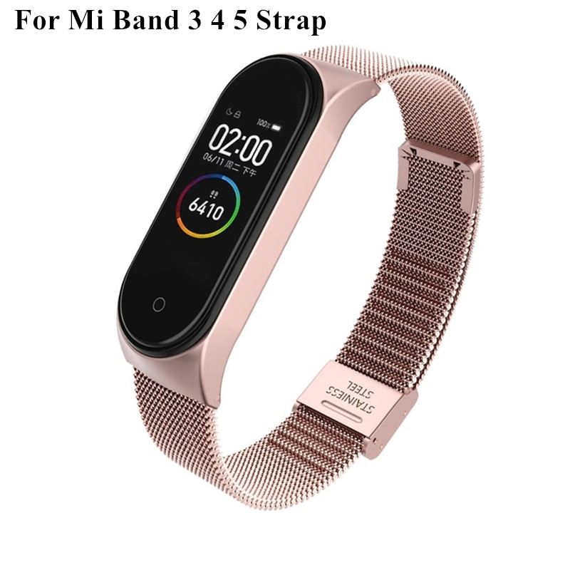 Strap For Xiaomi Mi Band 6 4 5 Wrist Metal Bracelet Screwless Stainless Steel MIband for Mi Band 4 3 5 Strap Wristbands Pulseira