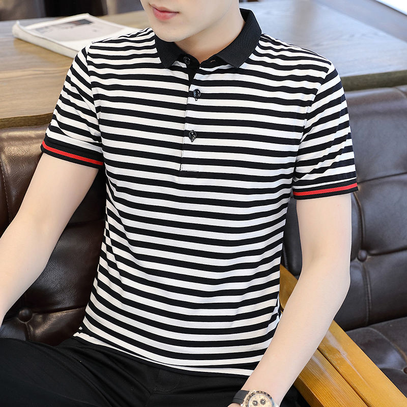 2021 Summer New Men's Striped Short-Sleeved Polo Shirt Business Trends Lapel Bottoming T-shirt Ice Silk Top