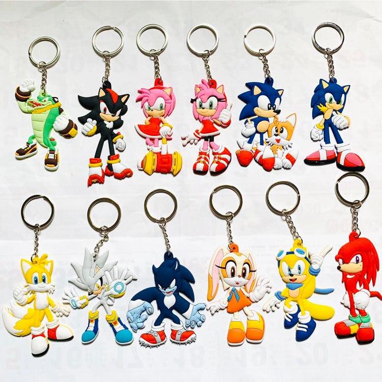 Llaveros de erizo sónico con figura de Anime, llaveros de doble cara en 3D, llaveros de goma de PVC con dibujos animados para niños, regalo de baratija de juguete