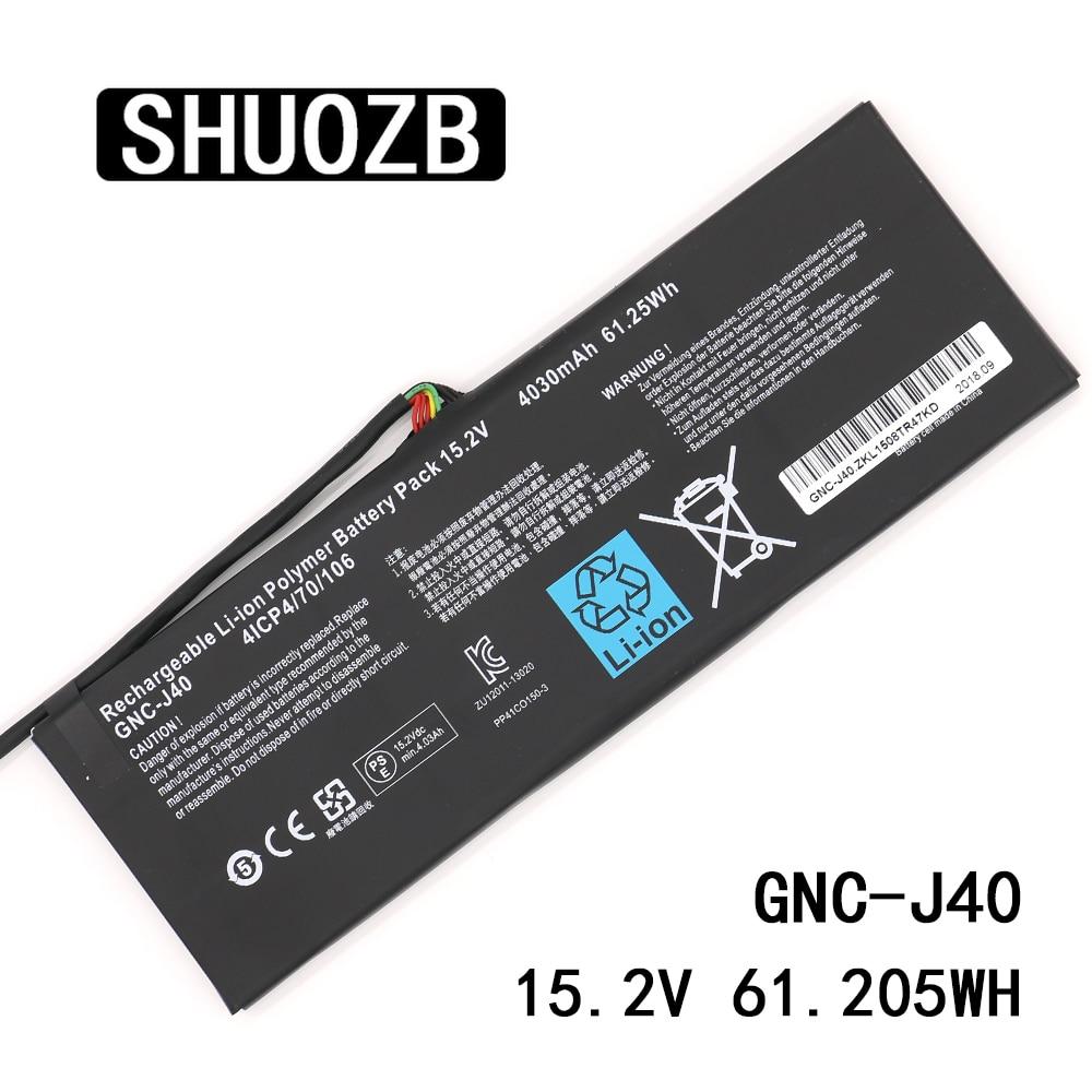 SHUOZB GNC-J40 15.2V 4030mAh 61.25Wh بطارية كمبيوتر محمول 961TA013F لجيجابايت P34W P34K P34F P34G V2 V3 V5 V7 سلسلة شحن مجاني