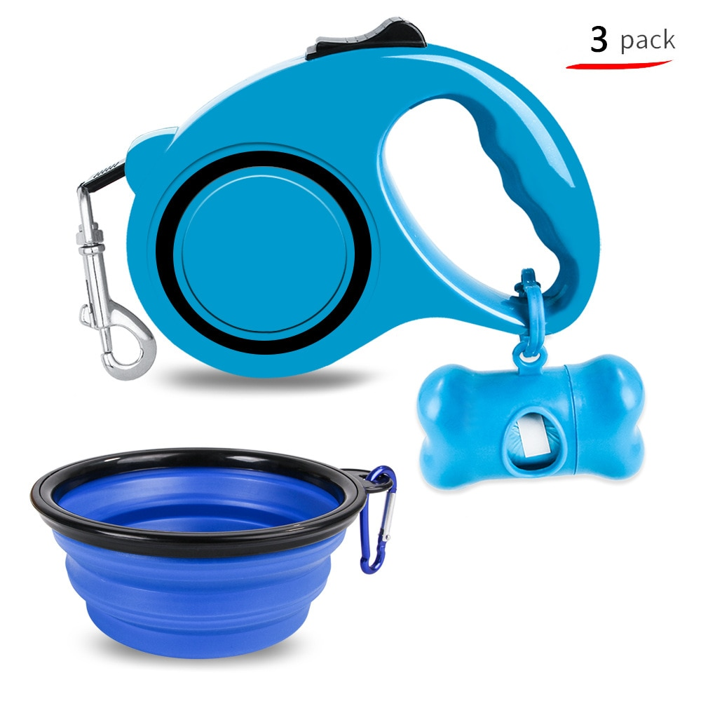 Retractable Dog Cat Leash Pet Waste Bag Dispenser Silicone Bowl Portable Feeding Bowl 3-piece Set Travel Outdoor Pet Accessories