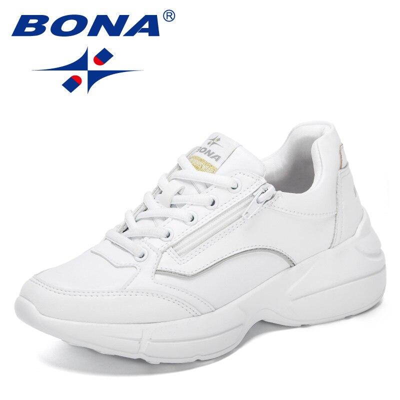 بونا 2021 المصممين الجدد شعبية أحذية رياضية أبي أحذية النساء كعب سميك أحذية السيدات حذاء كاجوال تنفس أحذية منصة Feminimo
