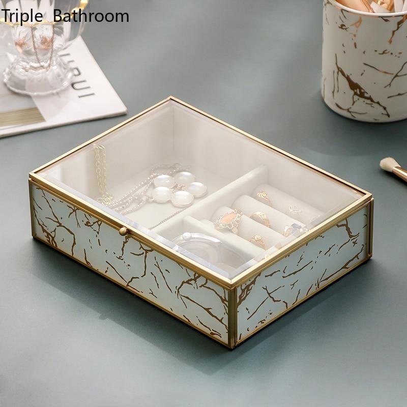 Light Luxury Brass Glass Ring Jewelry Display Organizer Multi-purpose Desktop Earring Jewelry Showcase Bedroom Storage Boxs