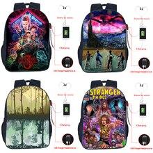 High Quality Boys Girls Stranger Things USB Charge Backpack Teens Students Bookbag Kids School Bag Men Women USB Travel Rucksack