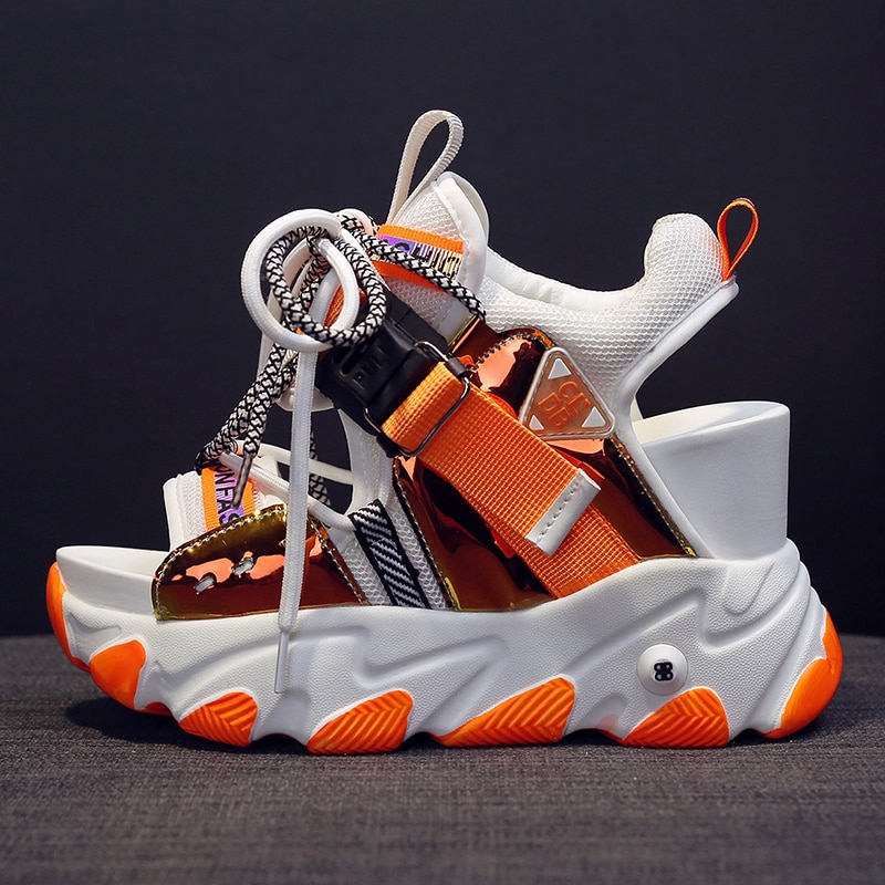 Hollow dad sandals women 2021 summer new slope heel thick-soled muffin inside the height of the Roman high-gang fairy shoes 9cm