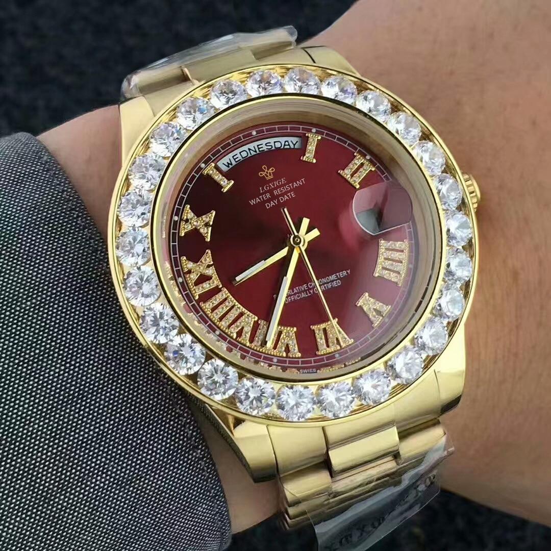 Fashion new diamond luxury men's watch quartz brand week calendar watch men's Watch