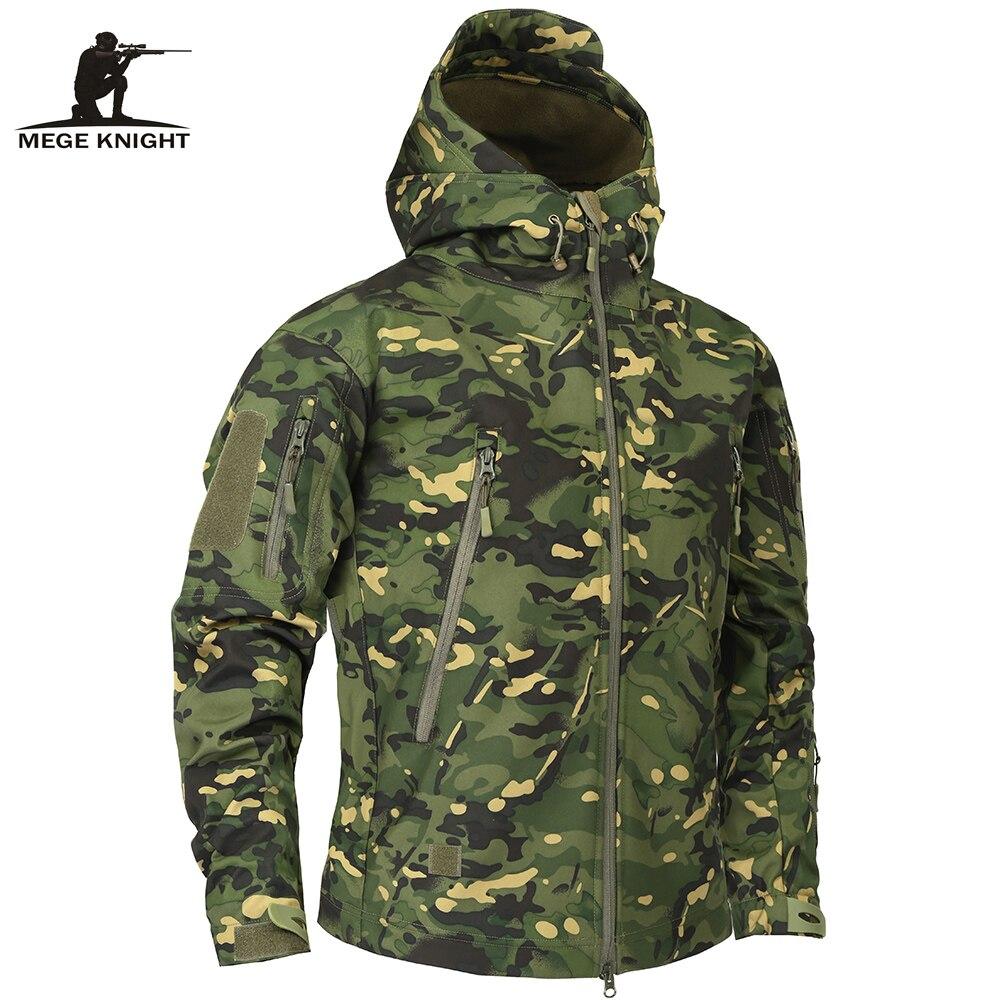 Мужская камуфляжная флисовая куртка Mege, камуфляжная армейская тактическая куртка Мультикам в стиле милитари, ветровка в стиле милитари на ...
