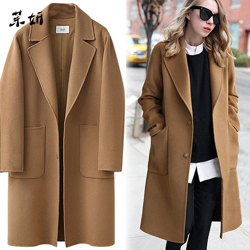 Woolen mulheres de alta qualidade solto elegante único breasted casaco de lã tamanho grande coreano casaco casual outono e inverno moda