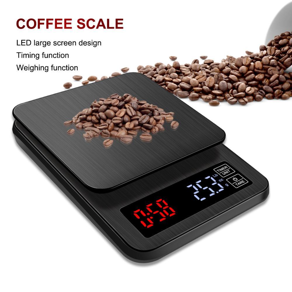 Dijital kahve ölçeği 5KG/0.1g el yumruk çok fonksiyonlu Bar sayacı elektronik pişirme ölçeği mutfak terazisi zamanlayıcı ile 3KG/0.1g