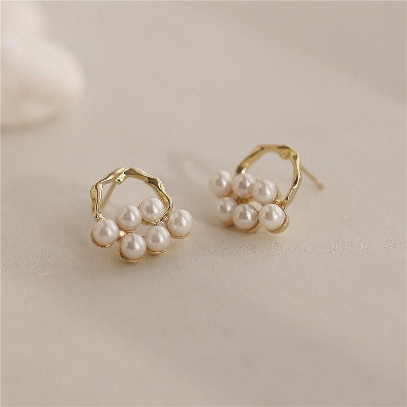 MENGJIQIAO 2020 New Elegant Pearl Twist Circle Stud Earrings For Women Fashion Cute Shiny Zircon Bijoux Brincos Jewelry