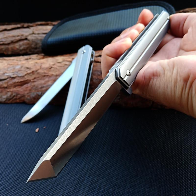 سكين جيب حاد قابل للطي ، شفرة D2 ، مقبض من التيتانيوم ، زعنفة ، تخييم ، سكاكين صيد ، بقاء ، EDC ، C07
