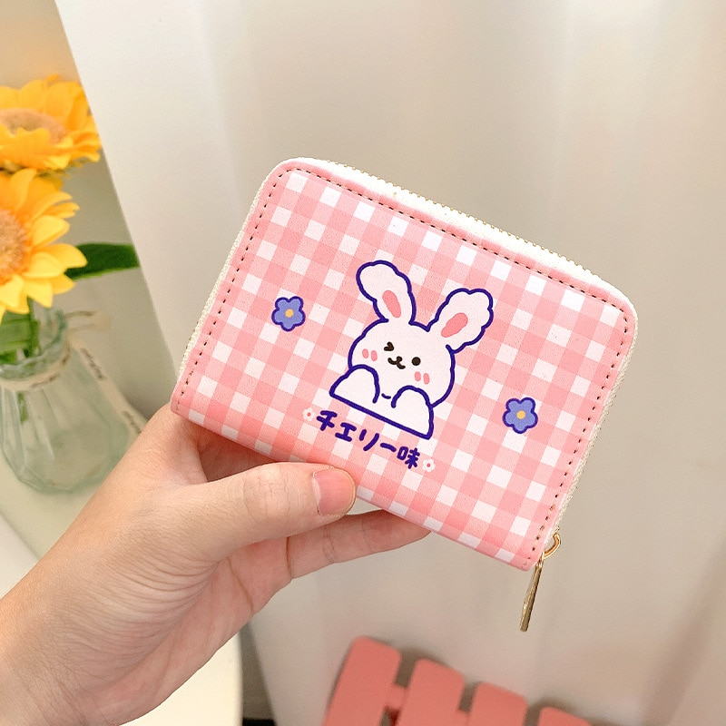Cartoon Image Grid Children's Wallet Simple Folding Cute Card Package Personality Creative Short Card Holder ID Package 2021 New