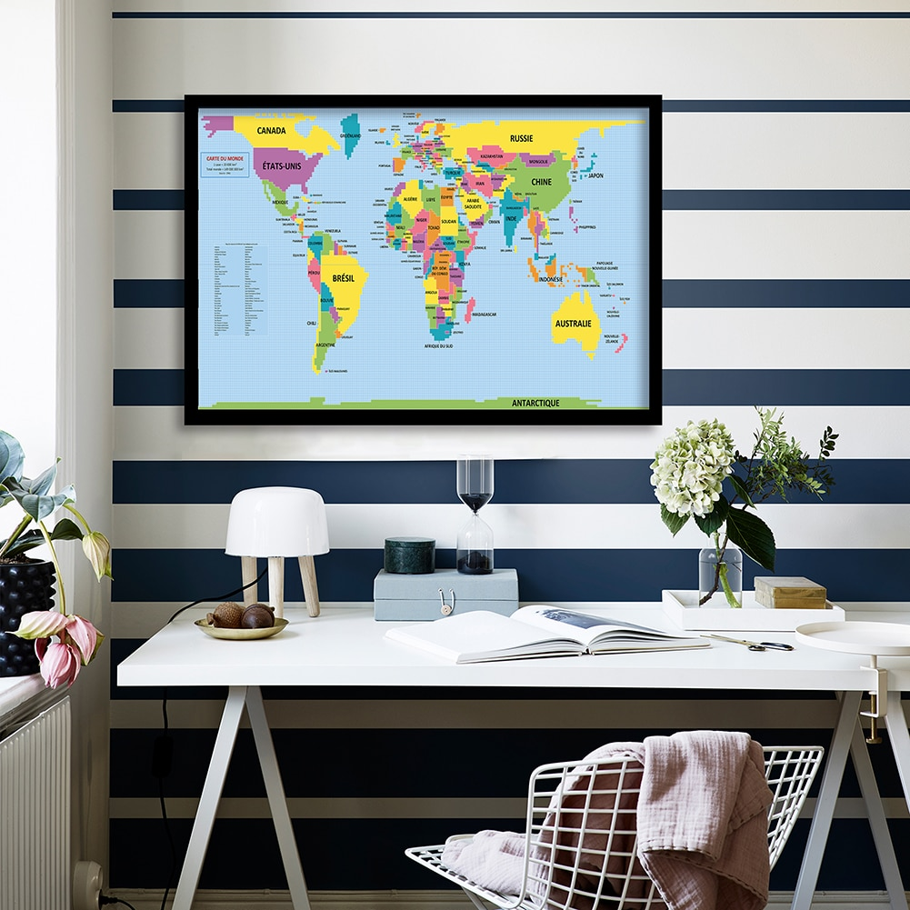 90*60cm The World Map Wall Poster Canvas Painting Living Room Home Decoration Children School Supplies In French