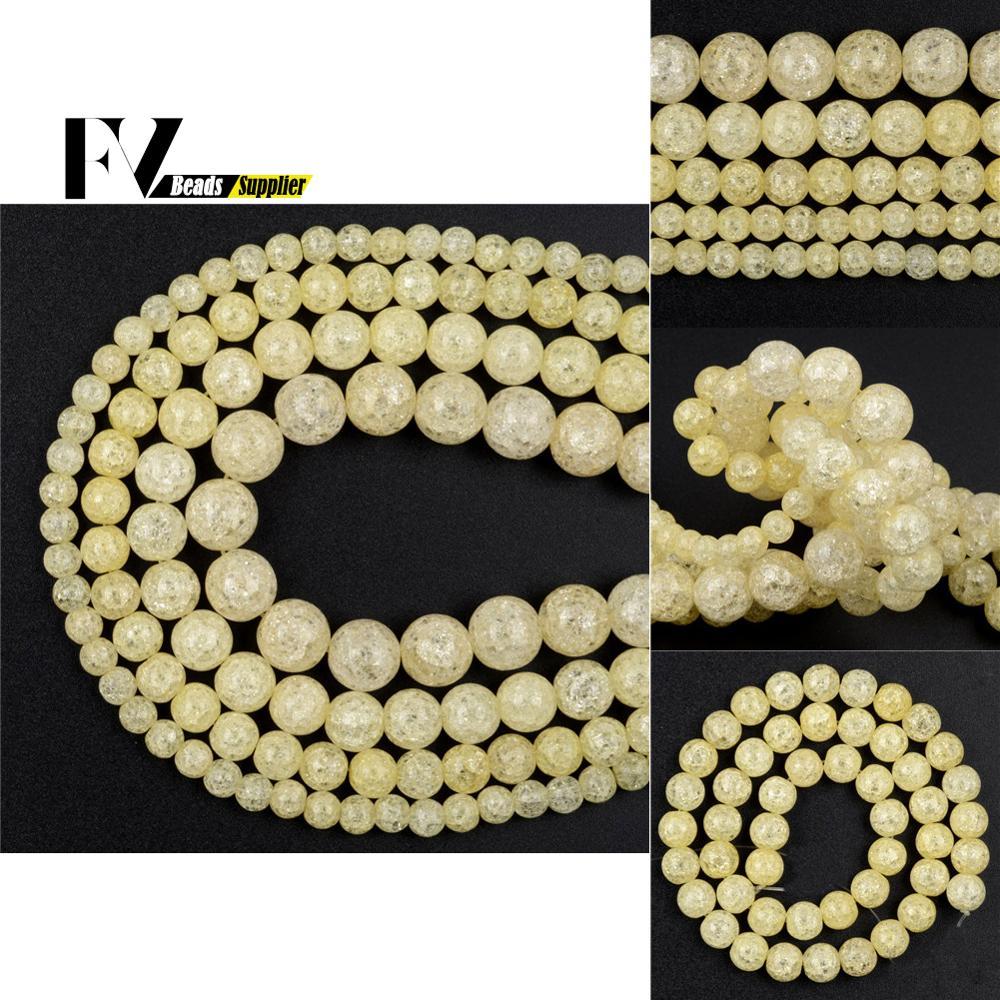 Cuentas redondas de cristal agrietadas para la fabricación de joyas, accesorios para...