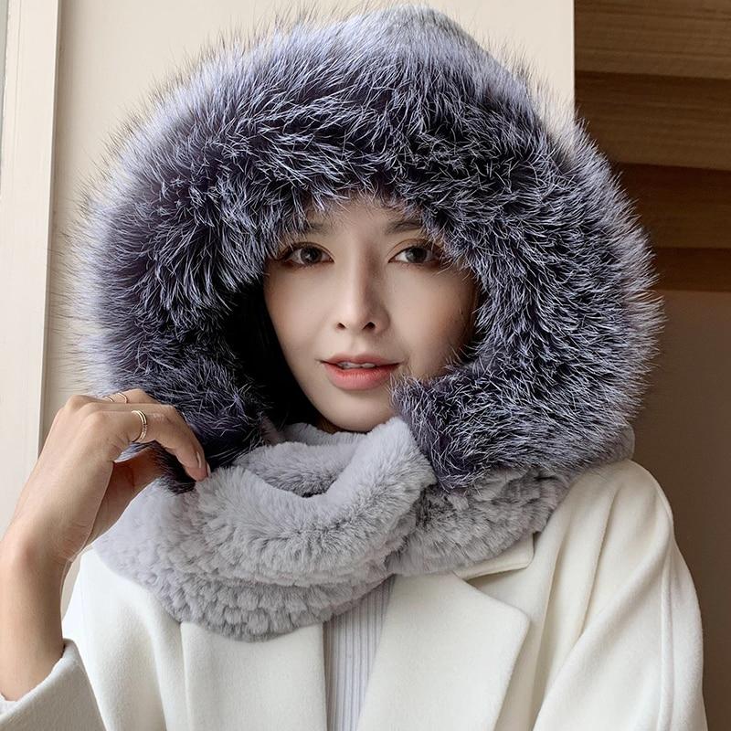 ZDFURS* winter real rabbit hats with sliver fox fur trim rabbit hair cap weaves with fox hood snow h