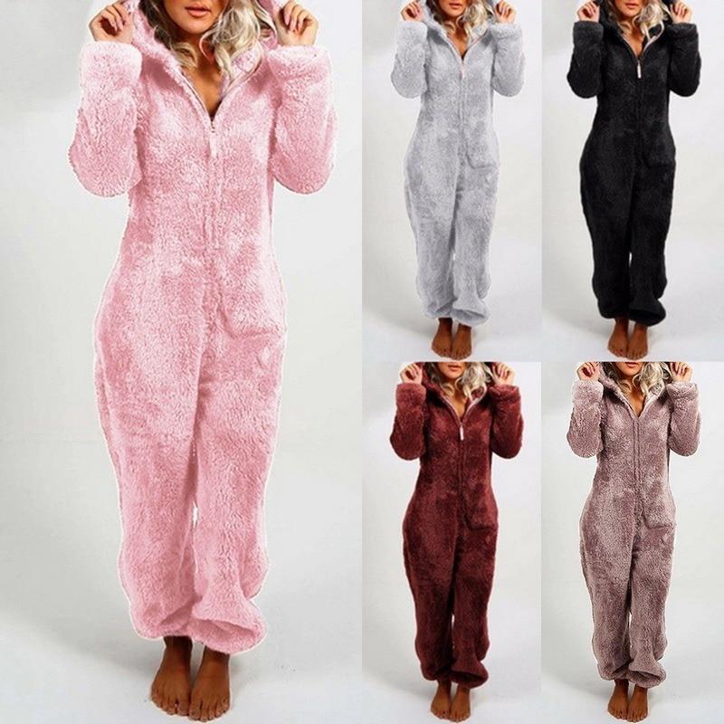 Зимняя теплая Пижама, женские комбинезоны, пушистые флисовые комбинезоны, одежда для сна, комплекты с капюшоном, пижамы для женщин, одежда д...