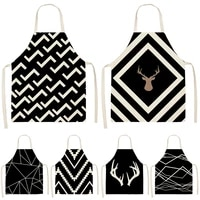 black geometric printed pattern kitchen sleeveless aprons cotton linen bibs 5365cm household women cleaning home cooking 46493